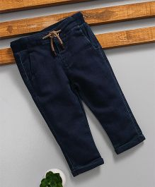 Fox Baby Full Length Jeans With Drawstring - Navy