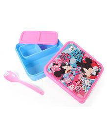 Disney Mickey & Minnie Lunch Box With Fork Spoon (Color May Vary)