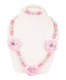 Daizy Rose Necklace & Bracelet Set - Pink