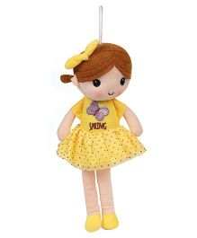 Starwalk Candy Doll With Frock And Bow Yellow - Height 30 cm