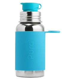 Pura Stainless Steel Sports Bottle With Silicone Cap Blue - 550 ml