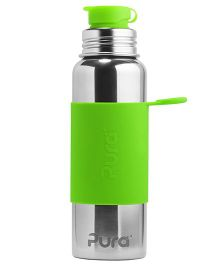 Pura Stainless Steel Sports Bottle With Silicone Cap Green - 850 ml