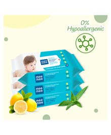Mee Mee Caring Baby Wet Wipes With Lemon Fragrance Pack Of 3 - 72 Pieces Each