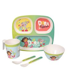 Dora Printed Feeding Set Pack of 5 - Green