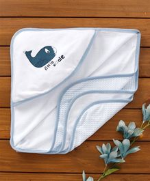 Babyhug Hooded Towel Whale Print - White