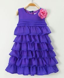 Soul Fairy Ruffles Tiered Dress With Rose - Blue
