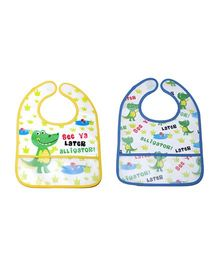 Little Hip Boutique Alligator Print Bibs Set - Yellow & Blue