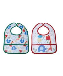 Little Hip Boutique Cartoon Print Bibs Set - Green & Red