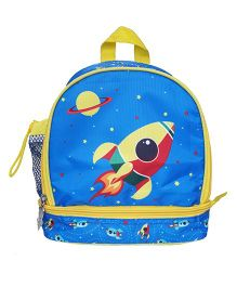 Little Jamun Junior Backpack Rocket Print Blue - 10 Inches
