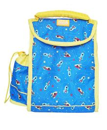 Little Jamun Rectangular Lunch Box Bag Rocket Print Blue - 12 inches