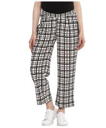 Momsoon Checkered Ankle Length Trousers - Black and White