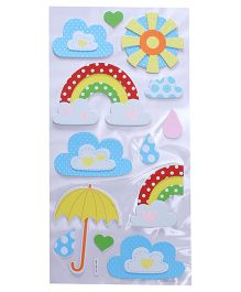 Rainbow & Cloud Shape Room Decor Sticker - Blue