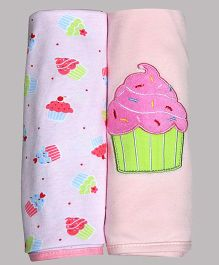 Kiwi Muffin Patch Cotton Blankets Pack of 2 - Light Pink & White