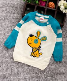 76b1e3ec8 Babyhug Full Sleeves Pullover Sweater Dog Patch - White   Blue