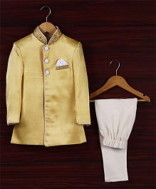 Babyhug Full Sleeves Sherwani With Pajama - Lemon Yellow