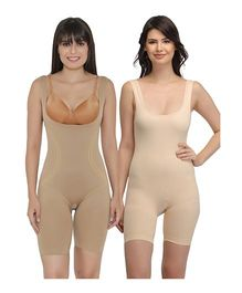 Clovia Laser Cut No Panty Lines High Compression Body Suits Pack of 2 - Beige Cream