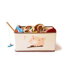 Shumee Foldable Canvas Storage Bin - Pig Pen (Off White Brown)