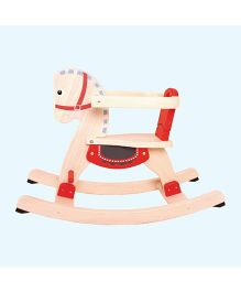 Brainsmith Wooden Rocking Ride On Horse - Cream Red