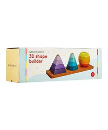 Brainsmith 3D Shape Stacking Wooden Toy - Multi Colour