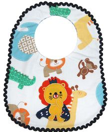 Princess & Her Bunny Embroidered Lion Bib - Multicolor