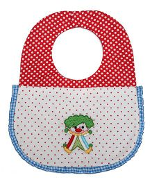 Princess & Her Bunny Embroidered Clown Bib - Red & White
