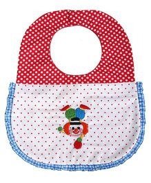 Princess & Her Bunny Embroidered Joker Bib - Red & White