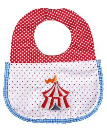 Princess & Her Bunny Embroidered Tent Bib - Red & White