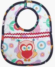 Princess & Her Bunny Embroidered Owl Theme Bib - Multicolor