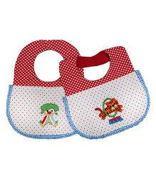 Princess & Her Bunny Carnival Embroidered Bibs Set Of 2 - White