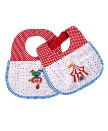 Princess & Her Bunny Carnival Polka Dots Embroidered Bibs Set Of 2 - White