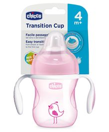 Chicco Transition Cup With Soft Silicone Spout Bunny Print Pink - 200 ml