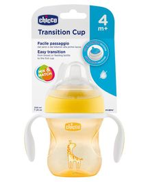 Chicco Transition Cup With Soft Silicone Spout - 200 ml (Color & Print May Vary)