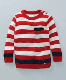 Babyoye Full Sleeves Stripe Sweater - Red White