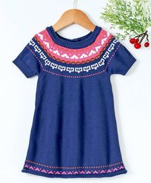 15d7fc09 Babyhug Half Sleeves Winter Wear Frock With Design On the Neck - Navy Blue