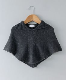 Babyoye Solid Winter Wear Hooded Poncho - Black