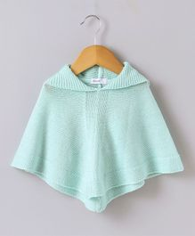 Babyoye Solid Winter Wear Poncho - Sea Green