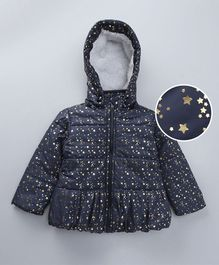 Babyoye Full Sleeves Jacket With Detachable Hood Stars Print - Navy Blue