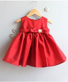 Many Frocks & Solid Dress With Bow - Red
