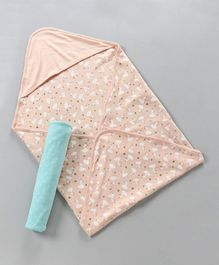 Babyoye Hooded Wrappers Hearts & Swan Print Pack of 2 - Blue Peach