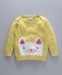 Babyoye Full Sleeves Sweater Kitty Design - Yellow