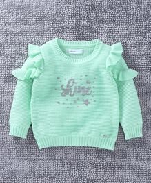 Babyoye Full Sleeves Sweater Ruffle Detailing - Light Green