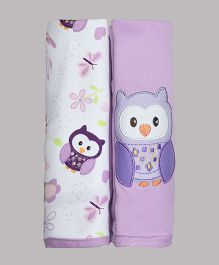 Kiwi Cotton Blankets Owl Patch Pack of 2 - White Purple