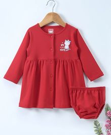 Babyhug Full Sleeves Cotton Frock With Bloomer Cat Print - Red