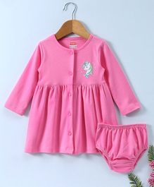 Babyhug Full Sleeves Cotton Frock With Bloomer Unicorn Print - Pink