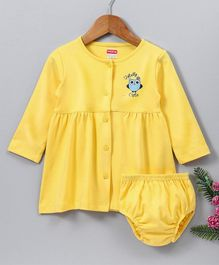 Babyhug Full Sleeves Cotton Frock With Bloomer Owl Print - Yellow