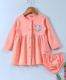 Babyhug Full Sleeves Cotton Frock With Bloomer Elephant Print - Peach