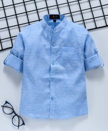Robo Fry Full Sleeves Solid Shirt - Blue