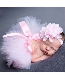 Babymoon Tutu Skirt With Headband Floral Applique - Pink