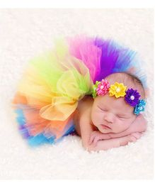 Babymoon Tutu Skirt With Headband New Born Baby Photography Props - Multicolour
