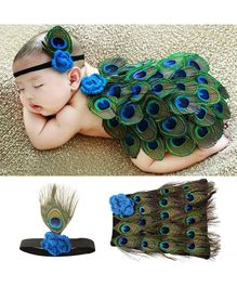 Babymoon Skirt And Headband Peacock Design - Blue Green